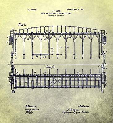 Horseback Mixed Media - Thoroughbred Race Starting Gate Patent by Dan Sproul