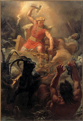 Thors Fight With The Giants Art Print by Marten Eskil Winge