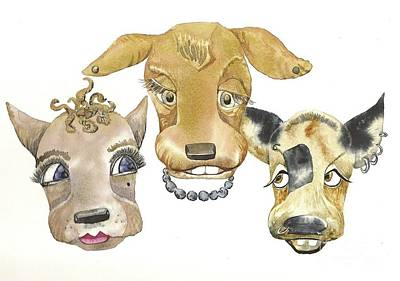 Those Girls Are Dogs. Art Print by Donna Acheson-Juillet