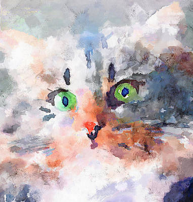 Kitten Digital Art - Those Green Eyes by Yury Malkov