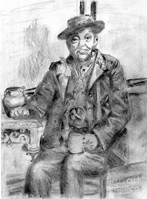 Clay Drawing - Those Were The Days Mr Catty by Madeline Moore