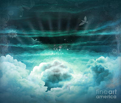 Pigeon Digital Art - Those Who Have Departed - Celestial Version by Peter Awax