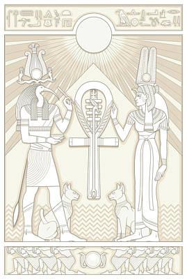 Digital Art - Thoth And Isis by Matthew Kocvara