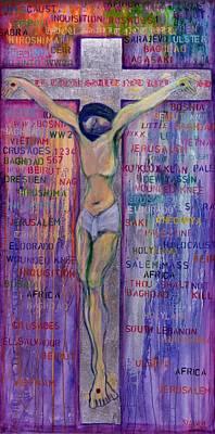 Jesus Photograph - Thou Shalt Not Kill, 2000 Acrylic & Silver Leaf On Canvas by Laila Shawa