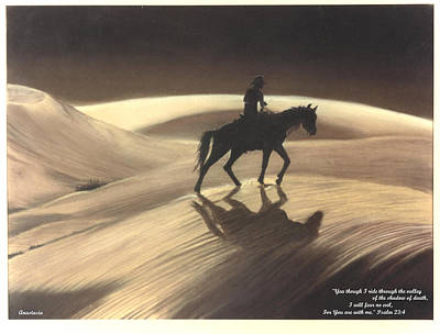 Art Print featuring the drawing Though I Ride Through The Valley by Anastasia Savage Ealy