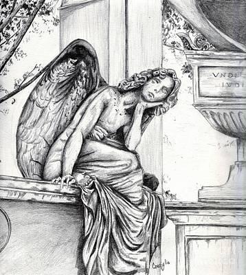 Cemetary Drawing - Thoughtful Angel by Celia Fedak