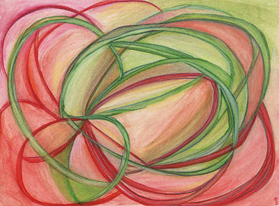 Red Line Drawing - Thoughts Create by Kelly K H B
