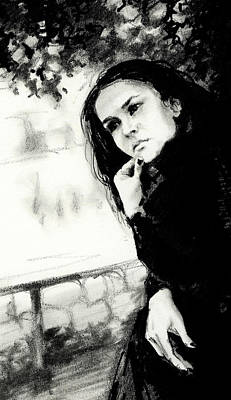 Brunette Drawing - Thoughts by Natasha Denger