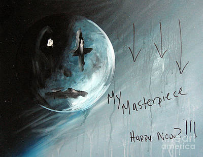 Sad Moon Painting - Thoughts Of An Artist By Shawna Erback by Shawna Erback