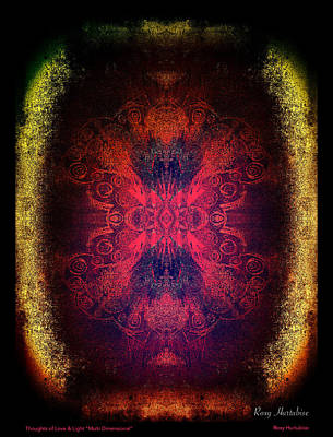 Digital Art - Thoughts Of Love And Light Multi Dimensional Black Border by Roxy Hurtubise