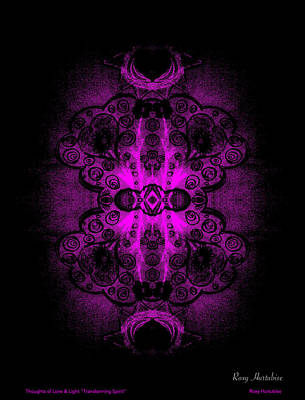 Digital Art - Thoughts Of Love And Light Transforming Spirit Black Border by Roxy Hurtubise