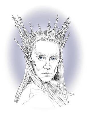 Drawing - Thranduil by Deirdre DeLay