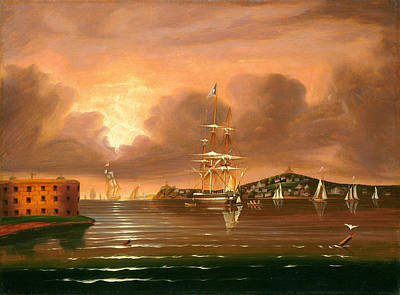 Threatening Sky. Bay Of New York Art Print by Thomas Chambers