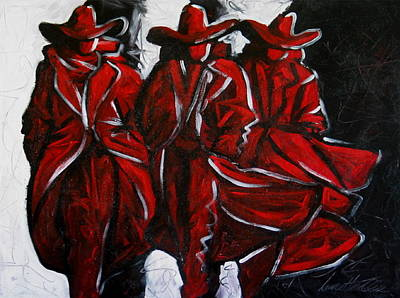 Contemporary Cowboy Painting - Three Abstract Cowboys by Lance Headlee