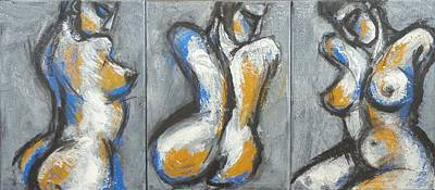 Three Abstracted Beauties - Triptych Art Print by Carmen Tyrrell