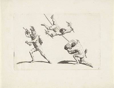 Three Acrobats In Action, Anonymous, Gerardus Josephus Art Print