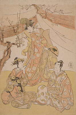 Cherry Blossoms Painting - Three Actors In A Scene by Yushido Shunsho