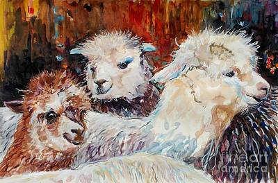 Alpaca Painting - Three Alpacas by Molly Poole