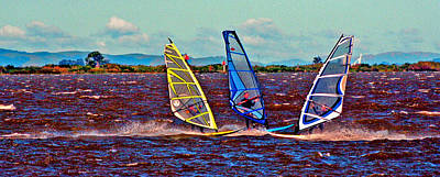 Digital Art - Three Amigo Windsurfers by Joseph Coulombe