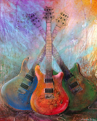 Electric Guitar Painting - Three Amigos by Andrew King