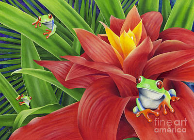 Frogs Painting - Three Amigos by Carolyn Steele