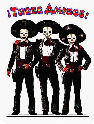 Three Amigos Photograph - Three Amigos - Day Of The Dead by Bill Cannon