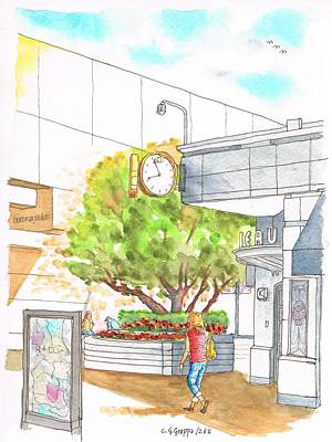 Shopping Center Painting - Tree And A Watch In The Century City Mall - California by Carlos G Groppa