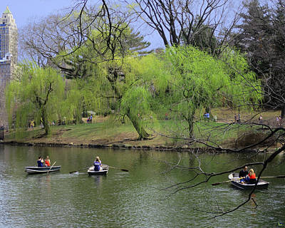 Rowing In Central Park Photograph - Three And Three by Muriel Levison Goodwin