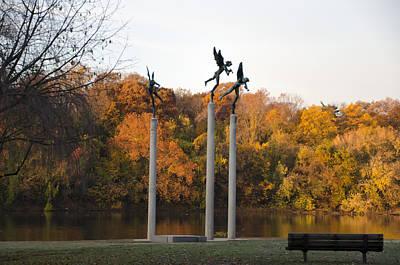 Three Angels In Autumn Art Print