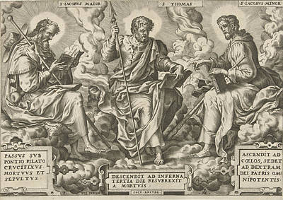 Heart Stone Drawing - Three Apostles James The Greater, Thomas And James The Less by Pieter Van Der Heyden And Peter De Vos Ii And Hieronymus Cock