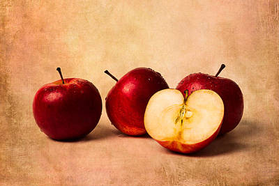 Apple Photograph - Three Apples And A Half by Alexander Senin