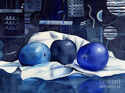 Monochrome Painting - Three Apples by Hailey E Herrera
