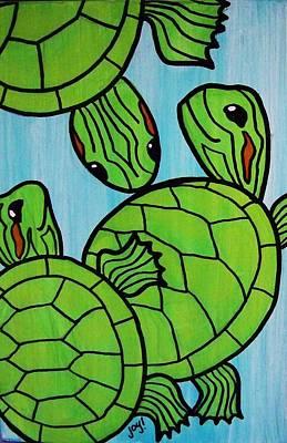 Slider Painting - Three Baby Turtles by Joy Green