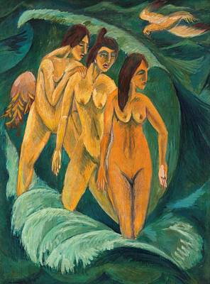 New South Wales Painting - Three Bathers by Ernst Ludwig Kirchner