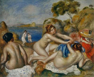 Three Bathers With Crab Print by Pierre-Auguste Renoir