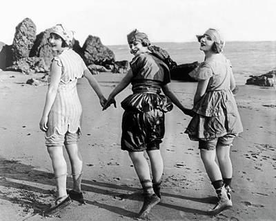 Three Bathing Beauties Art Print by Underwood Archives