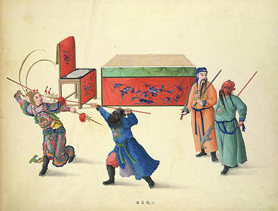 Watercolour Photograph - Three Battles Against Lu Pu by British Library