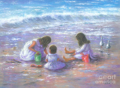 Children Playing On Beach Painting - Three Beach Girls Brunettes by Vickie Wade