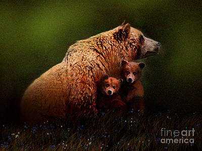 Kodiak Painting - Three Bears by Robert Foster