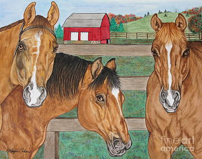 Wall Art - Painting - Three Beautiful Horses by Megan Cohen