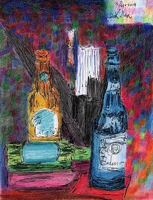 Red Wine Drawing - Three Beers by William Killen