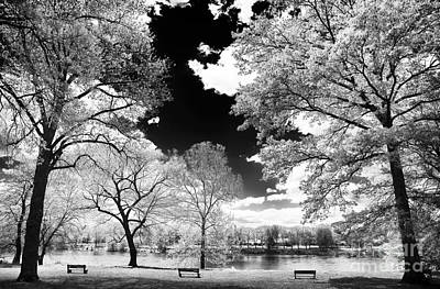 Photograph - Three Benches On The River by John Rizzuto