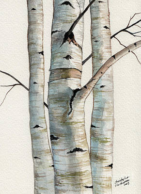 Painting - Three Birch Trees by Christopher Shellhammer