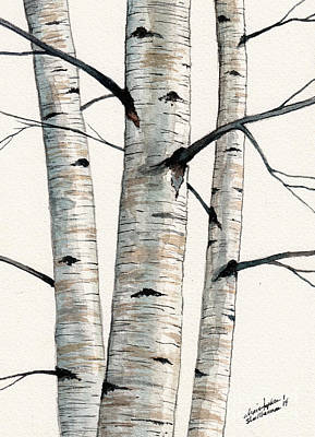 Painting - Three Birch Trees Number Two by Christopher Shellhammer