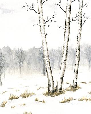 Painting - Three Birches In Late Winter by Anna Bronwyn Foley