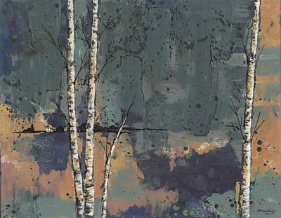Painting - Three Birches by John Wyckoff