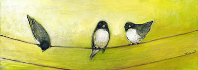 Animals Paintings - Three Birds on a Wire No 2 by Jennifer Lommers