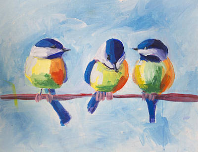 Painting - Three Birds by Richard Fritz