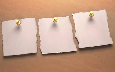 Push Pin Photograph - Three Blank Pieces Of Paper by Ktsdesign