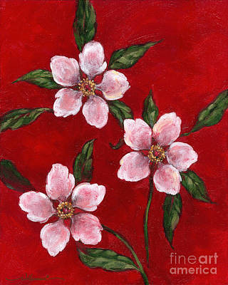 Three Blossoms On Red Art Print